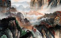 高端国画山水背景墙