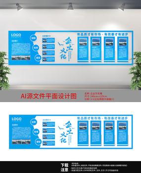 藍色背景企業文化墻