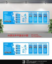 蓝色背景企业文化墙