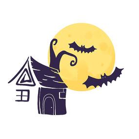万圣节元素蝙蝠月亮房子