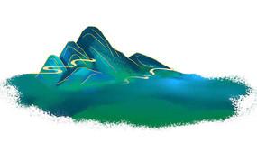 原创手绘插画青山绿水