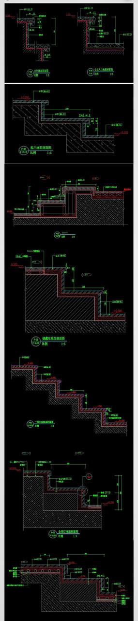 CAD楼梯踏步剖面图纸