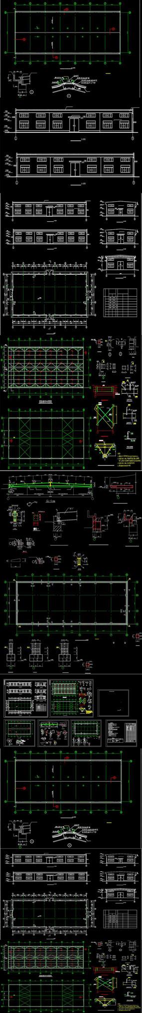 某单层钢结构厂房结构CAD施工图纸