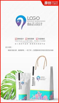 唯美天鹅美妆logo商标志设计