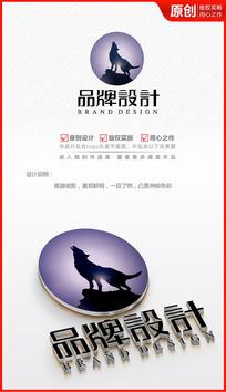 夜影孤狼创意个性狼嚎logo商标志设计