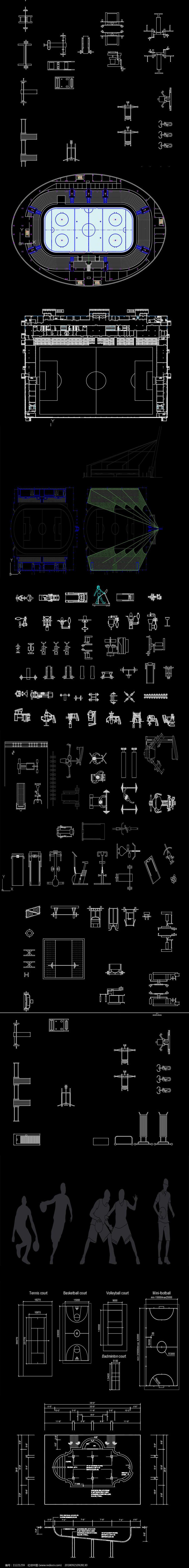 游泳池健身器材CAD图库图片