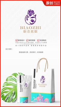 绽放玫瑰化妆品花朵logo商标志设计