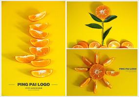 橘子创意太阳花摆放摄影素材