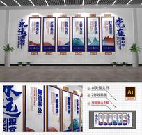 蓝色警营公安标语党建文化墙设计