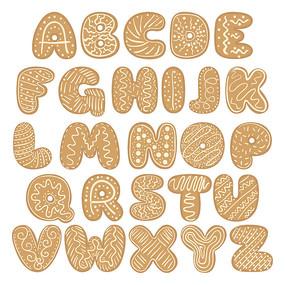 原创26个英文字母饼干字体