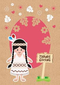 原创矢量牛皮纸贺卡感恩节印第安女孩