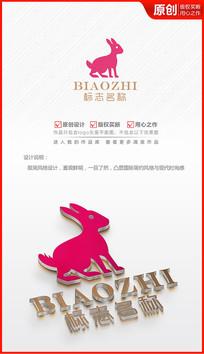 卡通粉色小兔子logo商标志设计