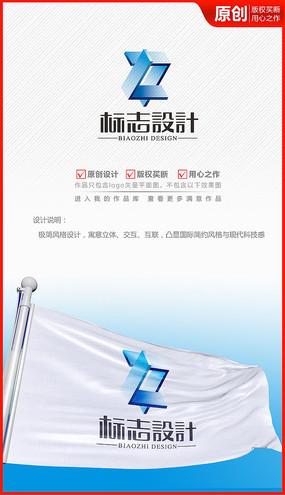 立體科技企業公司logo商標志設計