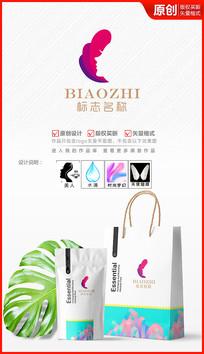 美丽绽放化妆品美妆logo商标志设计