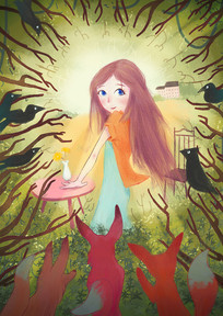 秘密花园简约儿童教育插画
