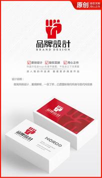 拳头力量公司企业logo商标志设计