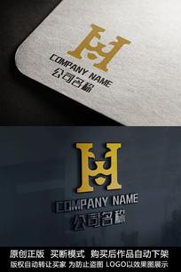 H字母logo标志狮子商标