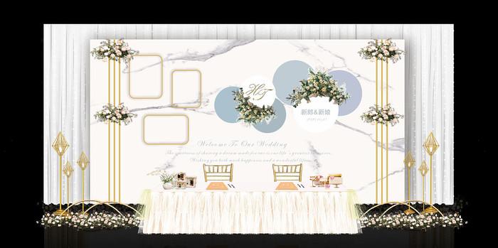 小清新大理石婚礼签到背景板
