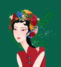 原创手绘插画设计民国风女人