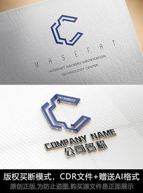 C字母logo标志字母商标设计