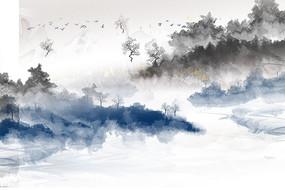 高端大氣抽象水墨山水背景墻