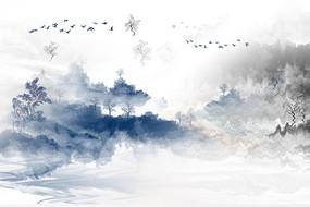 高端时尚蓝色山水背景墙