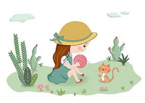 原创插画女孩与猫插画