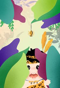 原创丛林探险的小女孩插画