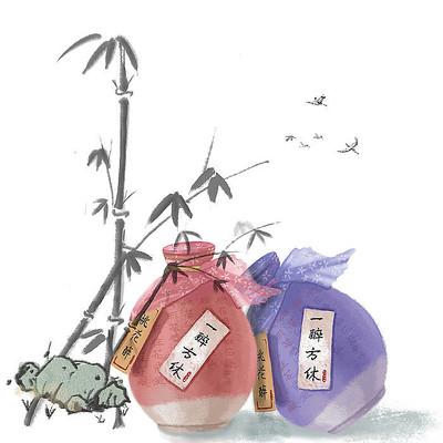 原创桂花酒插画