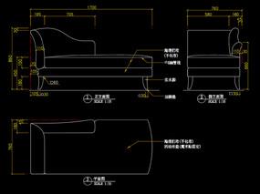 布藝沙發CAD貴妃位沙發CAD圖庫