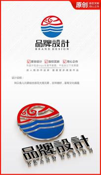 海产水产海鲜鱼海浪祥云logo商标志