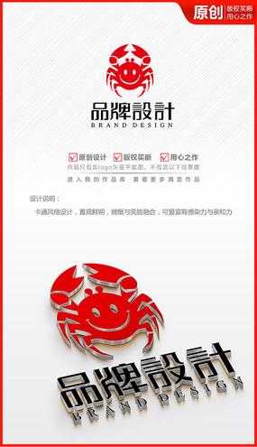 海鲜海产大闸螃蟹笑脸logo商标志设计