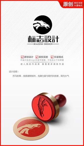 科技骏马logo商标志设计