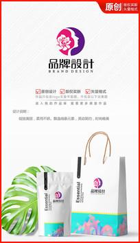 美容美发化妆品花朵logo商标志女人