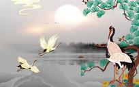 新中式水墨山水仙鹤背景墙