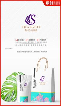 优雅美丽简约天鹅logo商标志设计