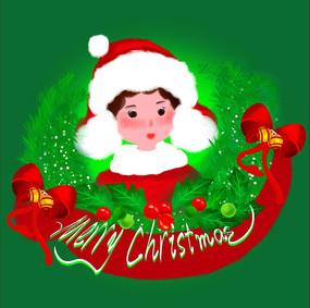 原創手繪插畫圣誕節男孩