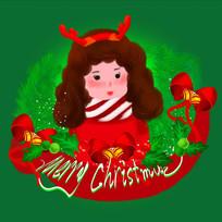 原创手绘插画圣诞节女孩