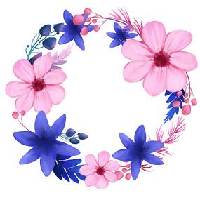 原创粉紫色清新花环