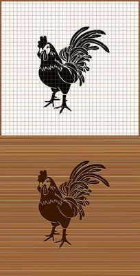 大公鸡剪影矢量雕刻图案