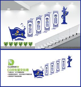 公安警察局楼梯文化墙