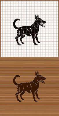 狗剪影矢量雕刻图案