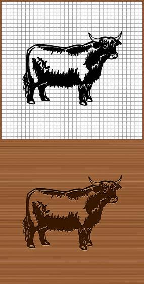 耗牛矢量剪影雕刻图案