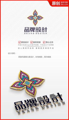 花朵民族風圖案logo商標志設計