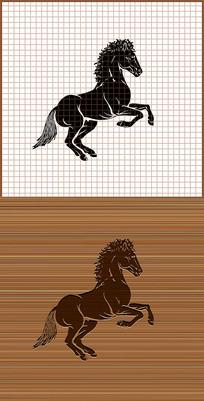 骏马剪影矢量雕刻图案