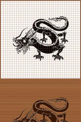 龙年辰龙剪影矢量雕刻图案