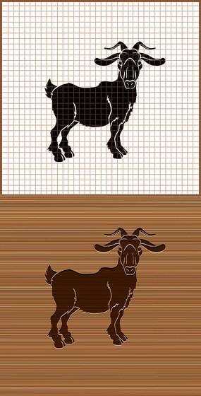 山羊剪影矢量雕刻图案