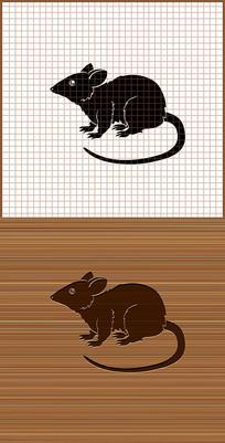 鼠剪影矢量雕刻图案