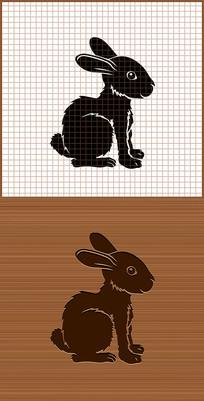 兔子侧面剪影矢量雕刻图案