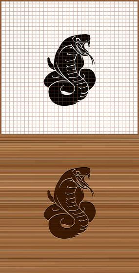 眼镜蛇剪影矢量雕刻图案